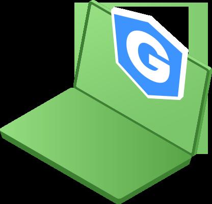 Laptop with Gatefy badge.