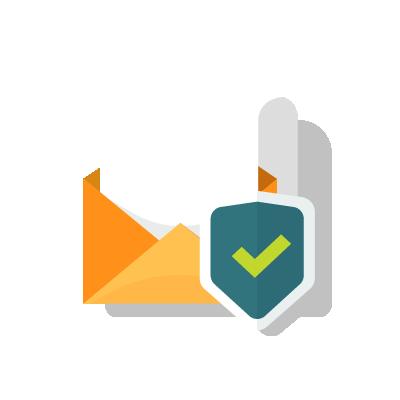Escudo da cibersegurança protegendo conteúdo de e-mail.