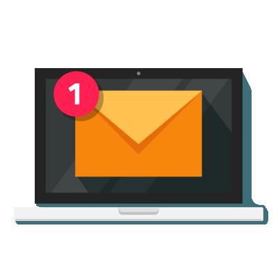 Notificação de e-mail sobre cibersegurança.