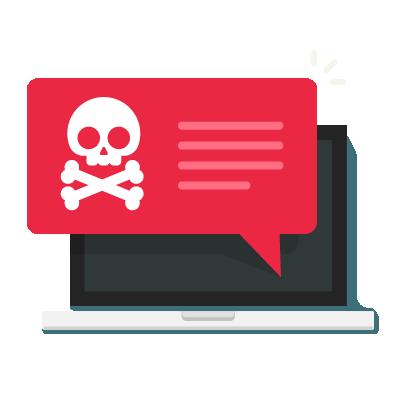 Pop-up malicioso falando sobre conteúdo de cibersegurança.