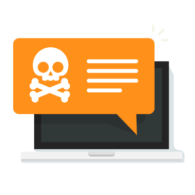 Pop-up malicioso falando sobre conteúdo de cibersegurança