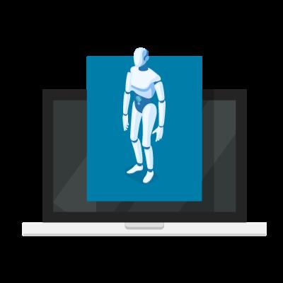 Robô da cibersegurança pipocando em computador