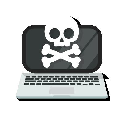 Caveira mostrando o risco de sistema sem cibersegurança.