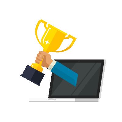 Braço saindo de computador e levantando taça do campeões da cibersegurança.