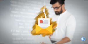 Fish hook phishing email from a man's computer with social engineering attack