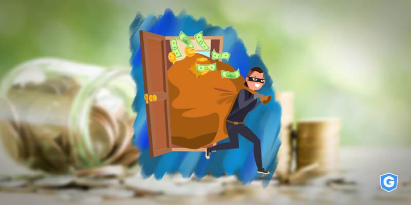 Thief stealing a billion-bag in a scam