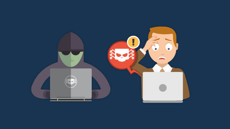 Hacker next to a computer user who is attacked by the BEC scam