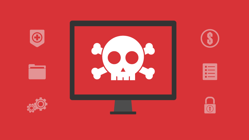 Malicious attachment represented by a skull in a computer