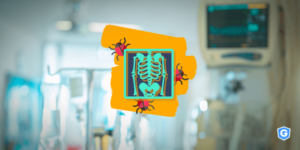 Malware affecting medical scan with hospital in the background