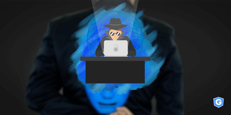 Cibercriminoso desbloqueando computador com spoofing de domínio para usar imagem de terceiro como máscara.