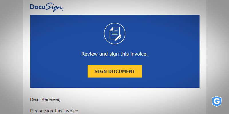 DocuSign phishing email try to steal your data from a malicious URL
