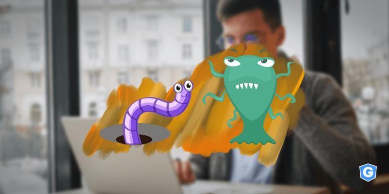 Worm e vírus lado a lado em computador de homem.