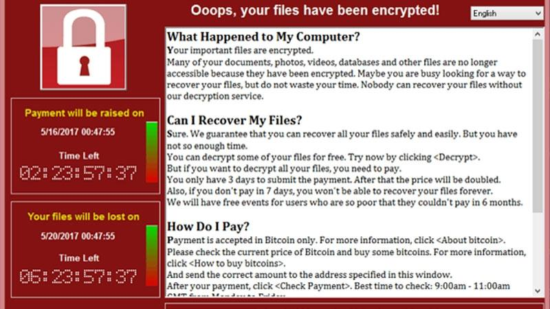 Real message's ransomware attack shows blocking and instructions for payment and unlocking