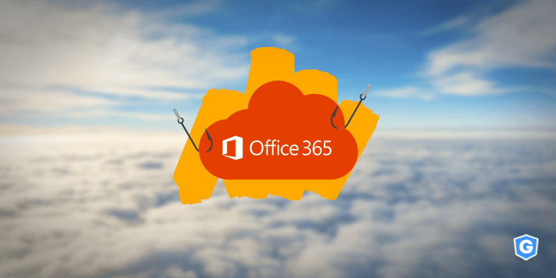Office 365 cloud in the clouds getting fished from a phishing hook at a Microsoft security report