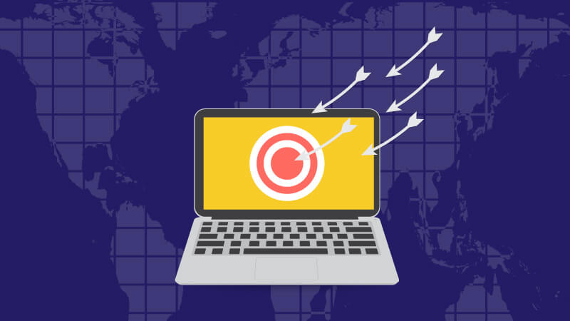 Arrows hitting target right in a target around the world as DDoS attack does