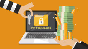 Ransomware showing message that says 'pay for unlock' and demanding money for the key