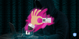 Hacker stealing professional identity in domain spoofing