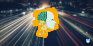 Human head with gears from machine learning on the traffic