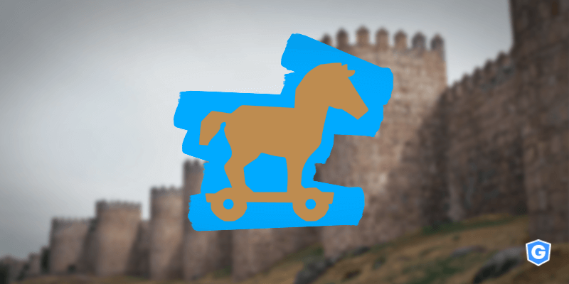 Trojan horse in front of a castle