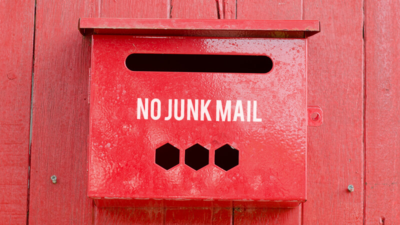 """Mail box with the phrase """"no junk mail"""" acts as anti-spam and protects the inbox from malicious messages"""