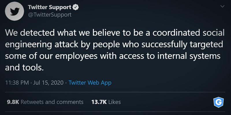 Twitter tweet publicizing the biggest hacker attack on the company