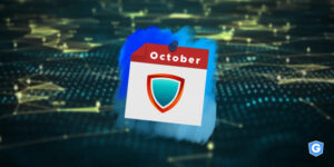 Cybersecurity shield in the calendar showing october month above network