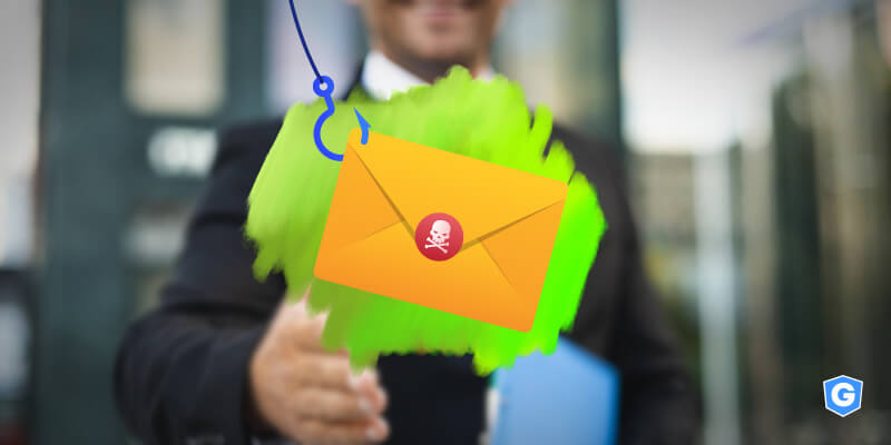 Hook pulling malicious email in a spear phishing scam above business man shaking hands