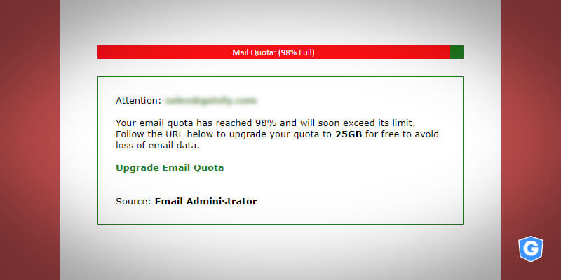 Real phishing email showing message to increase mail quota
