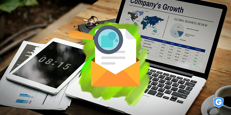 Secure email gateway intercepting an email content with a magnifier in front of a growth report