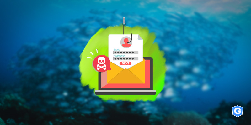 Hook getting data with phishing email revealing a threat into the ocean