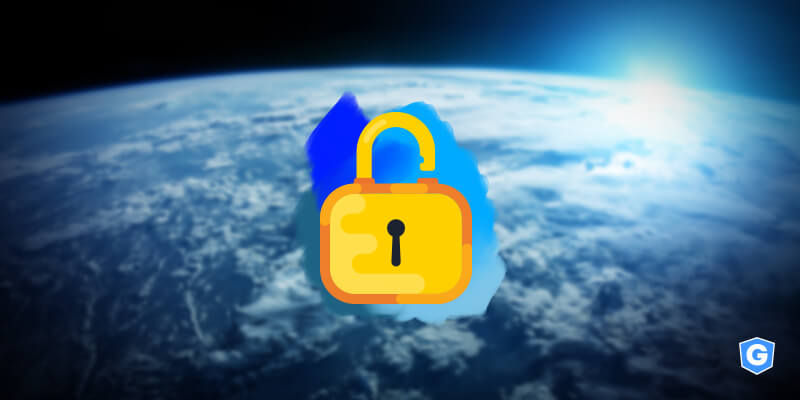 World with the countries most targeted by hackers behind an unlocked padlock