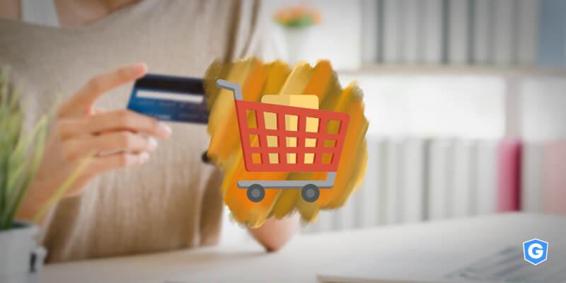 Carrinho de compras levando proteção para dados de cartão de crédito.
