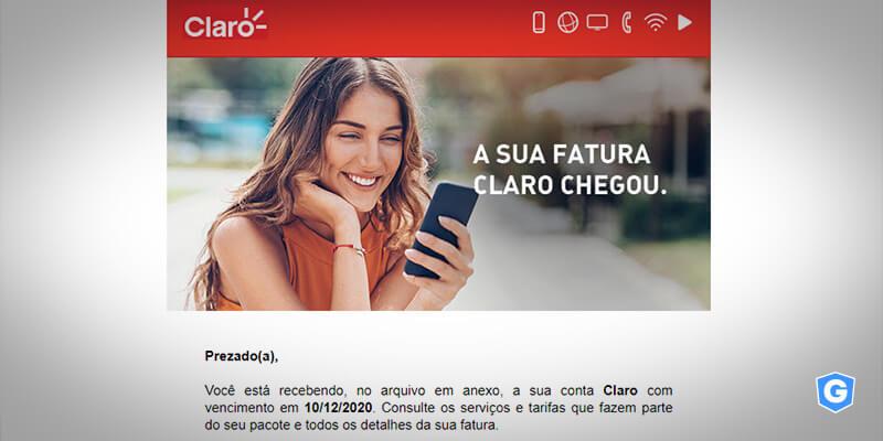 Golpe de e-mail usa imagem da Claro.