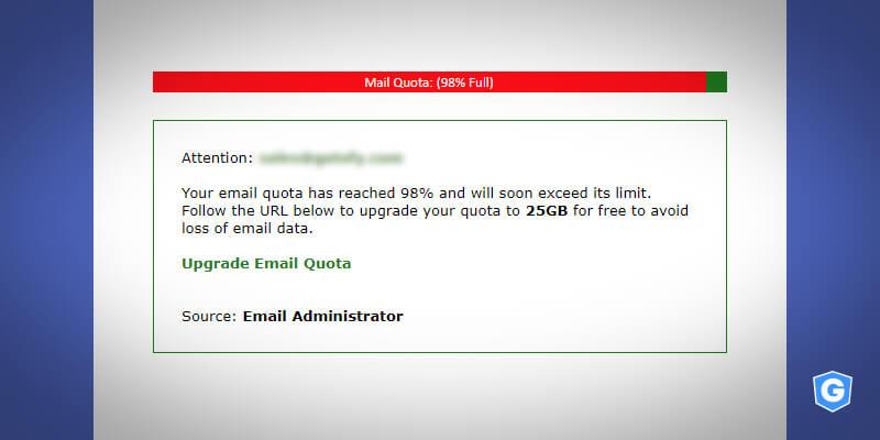 Phishing e-mail: aumente a capacidade de armazenamento da sua conta de e-mail.