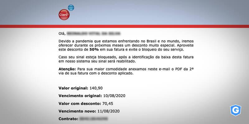 E-mail falso sobre fatura da Claro.