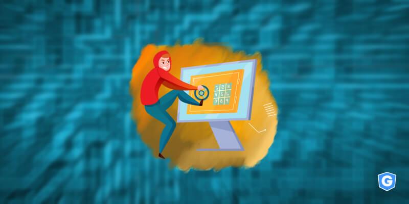 Hacker tentando invadir forte segurança de e-mail.