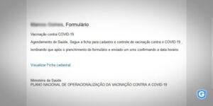E-mail malicioso usando a COVID-19.