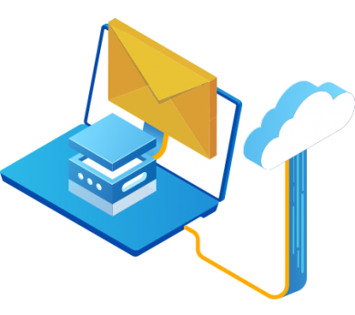 Computer email server connected on cloud with Gatefy Email Security.