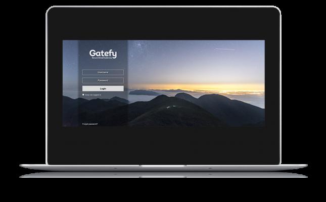 Mockup do Gatefy Email Protection em computador com fundo transparente.